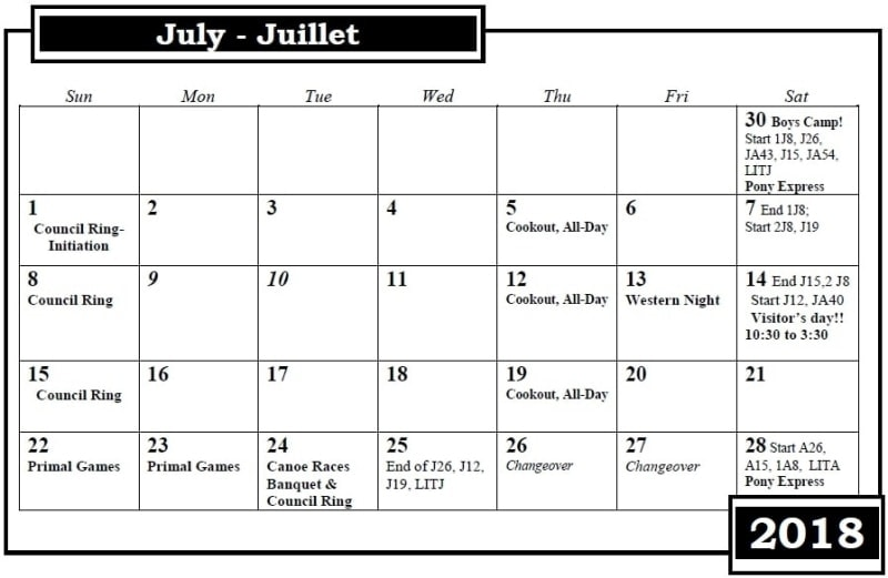 Camp Nominingue Calendar July 2018