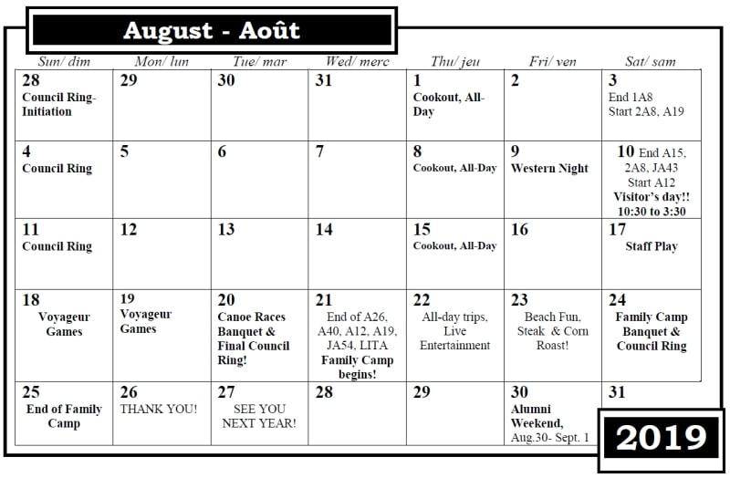 Camp Nominingue Calendar August 2019