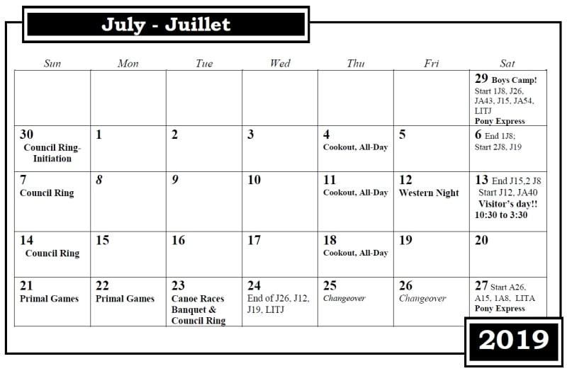 Calendrier du camp Nominingue Julliet 2019