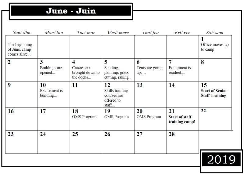 Camp Nominingue Calendar June 2019