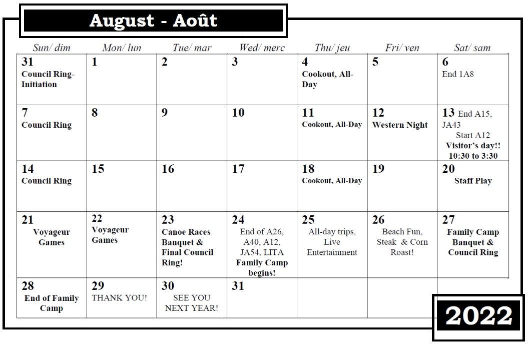 Camp Nominingue August Calendar 2022