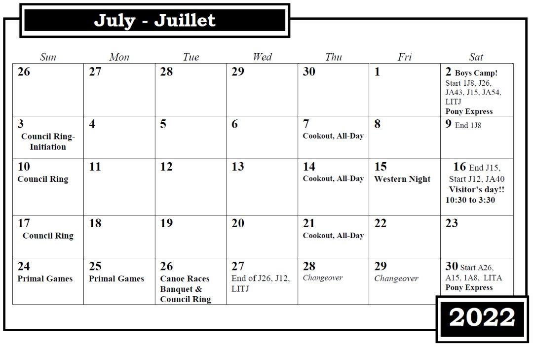 Camp Nominingue July Calendar 2022