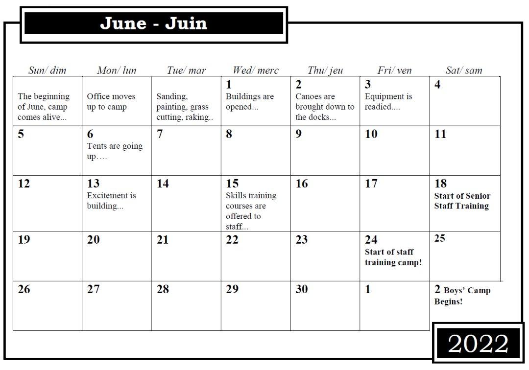 Camp Nominingue June Calendar 2022
